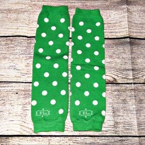 Green with White polka dots Baby Leg Warmers